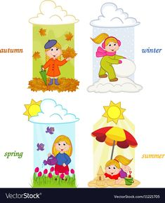 Girl in four seasons of year vector image on VectorStock Bible Crafts For Kids, Preschool Crafts, Summer Season Drawing, Opposites For Kids, Emotions Cards, English Worksheets For Kindergarten, Sequencing Cards, Flashcards For Kids, Kids Background
