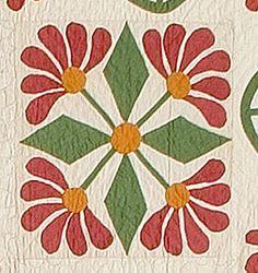 Prairie or Mexican Rose block detail - mid 1800's; typical Pennsylvania Dutch colors