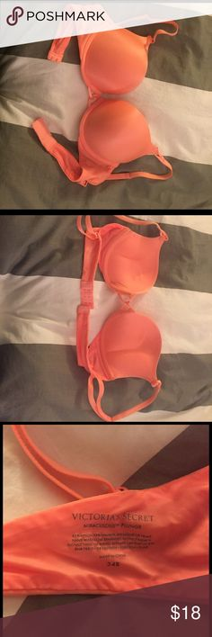 "Victoria's Secret Miraculous Plunge bra size 34B Selling Victoria's Secret Miraculous Plunge bra size 34B. Color: coral. Fun criss-cross in the middle. Provides a really good ""push up"" but the size is too big for me. Only worn a few times. Victoria's Secret Intimates & Sleepwear Bras"