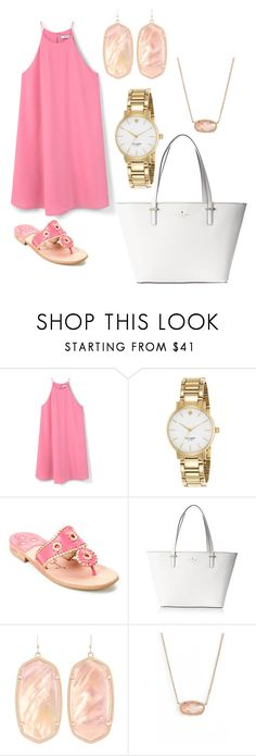 """Simple and easy pink"" by jadabug97 on Polyvore featuring MANGO, Kate Spade, Jack Rogers and Kendra Scott"