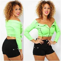Neon Green, Raven, Online Price, Crop Tops, Retro, Denim, Jackets, Ebay, Fashion