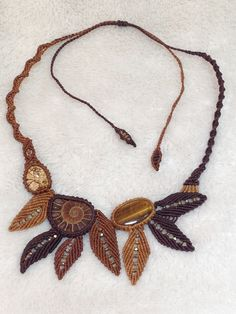 Brown leaves macrame  necklace Forest fairy Pixie Elf necklace Ammonites Tiger's eye Jasper