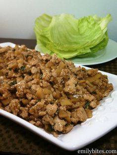 Emily Bites - Weight Watchers Friendly Recipes: Asian Chicken Lettuce Wraps-- kinda looks like dog food tho Ww Recipes, Copycat Recipes, Asian Recipes, Great Recipes, Chicken Recipes, Cooking Recipes, Favorite Recipes, Healthy Recipes, Recipies