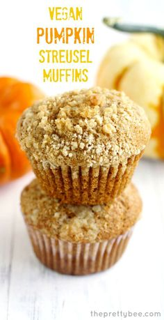 Welcome fall with a nice warm pumpkin muffin topped with a buttery crumb topping!