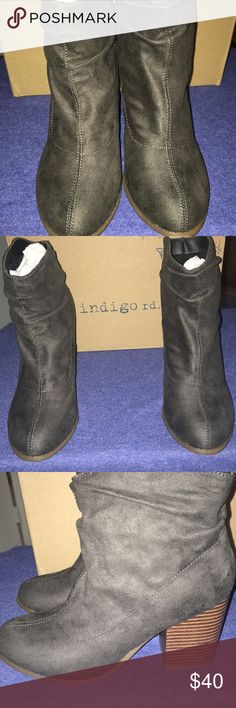 New indigo rd boots Obie Dark gray fabric  Size / 8.5 M Slouchy Ankle   Brand New with box indigo rd Shoes Ankle Boots & Booties