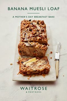 A brilliant Mother's Day bake, this banana and muesli loaf is delicious as an afternoon treat or lightly toasted for breakfast with honey.  Despite being utterly sweet and tasty, this simple loaf cake has no added refined sugar.  Tap for the full Waitrose & Partners recipe.