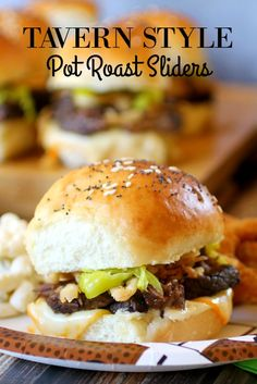 Tavern Style Pot Roast Sliders Packed full of juicy pot roast pepperoncinis muenster cheese fried onions and garlic mayo - these are deliciously amazing ad Pot Roast Recipes, Kale Recipes, Gourmet Recipes, Crockpot Recipes, Cooking Recipes, Healthy Recipes, Slow Cooking, Cooking Tips, Healthy Dinners