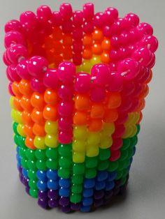 Melting Rainbow Kandi Cuff by Kandirella7 on Etsy, $12.00
