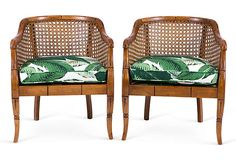 One Kings Lane - Vintage Accents, Brass Animals & More - Banana Leaf Bamboo Barrel Chairs, Pair Cane Furniture, Rattan Furniture, Furniture Projects, Furniture Upholstery, Upholstered Chairs, Furniture Design, Bamboo Dining Chairs, Bamboo Table, Estilo Tropical