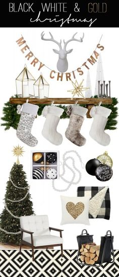 Create an elegant and modern holiday scene with these ideas for making a perfect black, white, and gold Christmas mantel and living room.