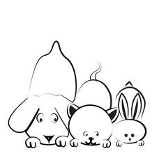Vetor: Dog, cat and rabbit logo
