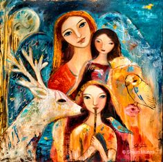 "New work - ""Family with Reindeer"" oil on canvas 30x30"" 2014 by Shijun Munns www.shijunart.com  #Art #OilPaintings  #painting  #owl #Family #Reindeer  #Portrait #Artist #ShijunArt #ShijunMunns"