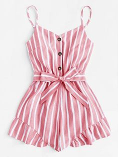 To find out about the Plus Self Tie Waist Striped Cami Playsuit at SHEIN, part of our latest Plus Size Jumpsuits ready to shop online today! Girls Fashion Clothes, Teen Fashion Outfits, Mode Outfits, Outfits For Teens, Girl Outfits, Fashion Dresses, Cute Comfy Outfits, Cute Summer Outfits, Pretty Outfits