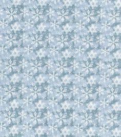 Christmas Cotton Fabric-Snowflake Texture Lt Blue