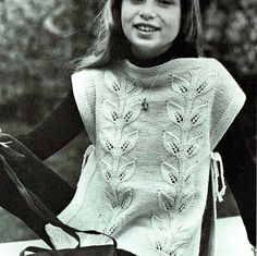 PDF Pretty Girls 'Cascading Leaves' Tabard by TheAtticofKitsch Vintage Knitting, Baby Knitting, Retro Outfits, Kids Outfits, Stunning Girls, Hippie Chick, Knitting Patterns, Crochet Patterns, Pretty Girls