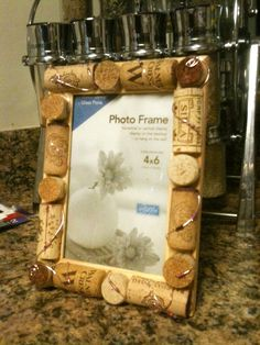 4x6 Hand Crafted Wine Cork Photo Frame featuring Wire by megotaku