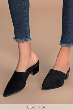 Step up into style in the Lulus Barie Black Suede Leather Pointed-Toe Mules! Genuine suede leather creates a chic pointed-toe upper and a slide-on design. Black Heels Low, Low Heels, Black Shoes, Leather Mules, Suede Leather, Black Suede, Nude Shoes, Women's Shoes, Shoes Sneakers