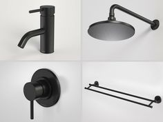 Black Tapware, shower heads & Towel Rail