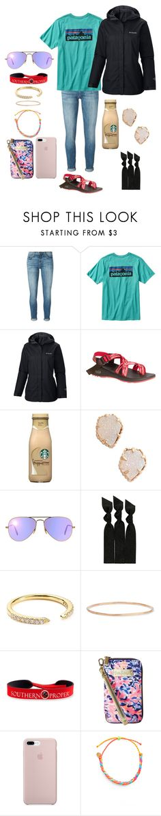 """""""ootd🌎"""" by chloehooker ❤ liked on Polyvore featuring Current/Elliott, Patagonia, Columbia, Chaco, Kendra Scott, Ray-Ban, Emi-Jay, Nadri, Catbird and Southern Proper"""