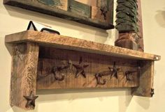 Barn Wood Crafts Ideas | Barn wood shelf with castiron stars and hooks by ... | Craft Ideas