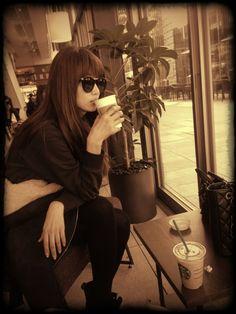 Youn-a drinking coffee like a boss