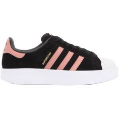Adidas Originals Women Superstar Bold Leather Sneakers ( 160) ❤ liked on  Polyvore featuring shoes, sneakers, black, leather platform sneakers, black  rubber ... cd642798db