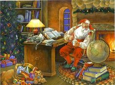 Santa in his office planning his route
