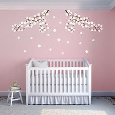 Cherry Blossom Nursery Wall Decals.. I've seen lots of cherry blossom decals, but I love the look of the blossoms falling. It is so pretty