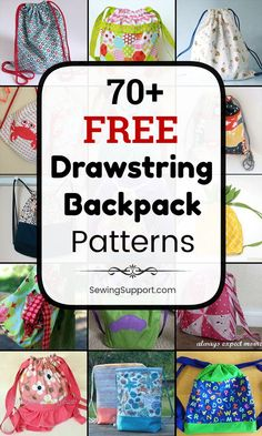 70 Free Drawstring Backpack patterns, tutorials, and diy sewing projects, most easy enough for a beginner to sew. Great simple backpack for kids. Sewing Patterns For Kids, Bag Patterns To Sew, Sewing Projects For Beginners, Sewing For Kids, Diy Projects, Sewing Hacks, Sewing Tutorials, Sewing Tips, Bag Tutorials
