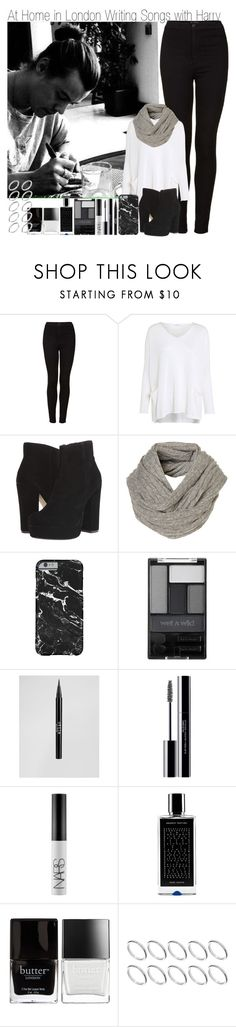 """""""At Home in London Writing Songs with Harry"""" by elise-22 ❤ liked on Polyvore featuring Topshop, Crea Concept, Steve Madden, Wet n Wild, Stila, shu uemura, NARS Cosmetics, Agonist, Butter London and ASOS"""