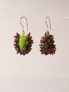 Yael Krakowski  Felt Earrings #2  Felt, moss agate, glass beads, 14k gold.