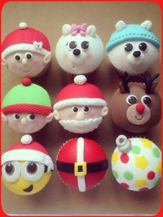 Christmas cupcake toppers By Mrs Cakey