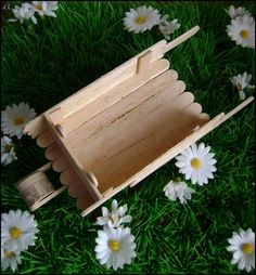 DIY idea: small wheelbarrow in ice cream sticks # DIY house, material . Popsicle Stick Crafts, Popsicle Sticks, Craft Stick Crafts, Diy And Crafts, Crafts For Kids, Ice Cream Stick Craft, Mini Pallet Coasters, Christmas Village Houses, Barbie Furniture