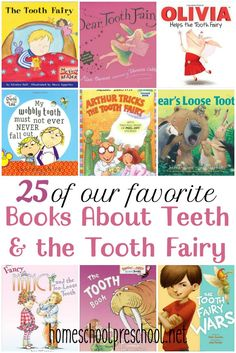 Here's a great list of books about teeth and the tooth fairy to read with your kids while they are preparing for a visit from the Tooth Fairy. Oral Health, Dental Health, Dental Care, Health Tips, Health Activities, Activities For Kids, Space Activities, Toddler Books, Childrens Books