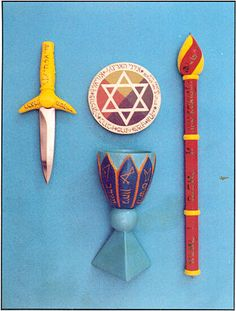 Ceremonial Magick: ~ Hermetic Order of the Golden Dawn: Elemental weapons. Magick Book, Witchcraft, Esoteric Art, Knight Art, Free Mind, Ancient Mysteries, The Magicians, Tarot, Canopic Jars