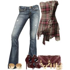 corset with jeans Plaid Corset Top. I have a funky plaid shirt that needs a refashion, thinking Im going to try and sew this shirt. Mode Outfits, Fall Outfits, Summer Outfits, Casual Outfits, Fashion Outfits, Womens Fashion, Sewing Clothes Women, Clothes For Women, Country Outfits