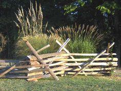 I think a split rail fence would look cool. Rustic Fence, Farm Fence, Garden Railings, Viking House, Split Rail Fence, Garden Landscaping, Landscaping Ideas, Old Fences, Cedar Fence