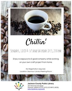 THIS PROGRAM HAS EXPIRED - Bring your craft from home and enjoy cappuccino and good company!