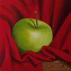 """""""Granny Smith in Red"""" - Original Fine Art for Sale - © Jane Palmer"""