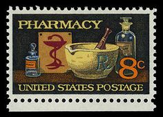 This stamp honoring American pharmacists was first placed on sale in conjunction with the 120th anniversary of the American Pharmaceutical Association.