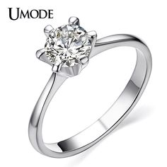 UMODE Anillo Classic Rhodium color 6 Prongs Setting CZ  Jewelry Engagement / Wedding Rings For Women AJR0012B