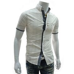 (AL218-IVORY) Slim Fit 2 Tone Patched Stretchy Checker Short Sleeve Shirts