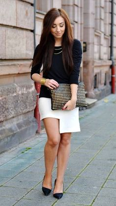 rebekah's adorable black and white ensemble... so chic!