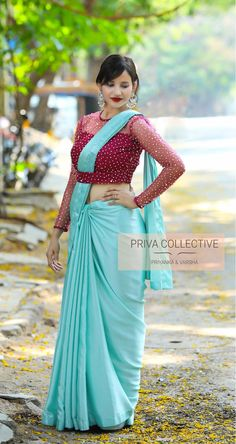 PV Sky blue and Magenta pink.Ramp walk this beauty in sky blue satin sari.Unstitched blouse piece : Magenta Pink net pearl work blouse piece as in the picture.For Order 25 April 2019 Saree Jacket Designs, Netted Blouse Designs, Pattu Saree Blouse Designs, Fancy Blouse Designs, Saree Blouse Patterns, Designer Blouse Patterns, Stylish Blouse Design, India, Amazing