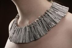 Paper Necklace by Claudia Diehl who uses her own hand made and dye papers to produce these individual jewellery pieces.