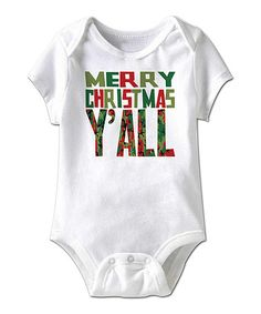 This White 'Merry Christmas Y'all' Bodysuit - Infant is perfect! #zulilyfinds