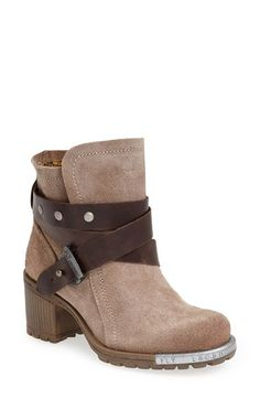 Fly London 'Lok' Boot (Women) at Nordstrom.com. Smooth leather straps wrap the shaft of a distressed suede bootie designed with a  lugged sole for a rugged yet chic look.