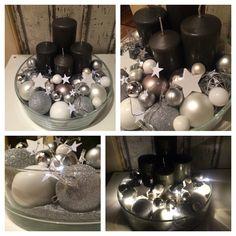 Adventskranz grau weiß Silber