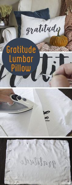 "We'll be spending more time indoors with loved ones and relaxing by the fire in a nice easy chair. Adding seasonal pillows and throws to cozy up your home for fall doesn't have to be expensive or complicated. This DIY ""gratitude"" lumbar pillow can be made in just a couple hours and adds a thoughtful reminder that is not only appropriate as Thanksgiving approaches, but also year-round."