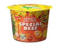 Lucky Me! Supreme Special Beef Cup noodles never tasted so good! The restaurant-style beef noodle soup that's oozing with flavor and richness makes you want to open a cup every time. Brand Management, Chicken Noodle Soup, Pinoy, Filipino, Coffee Cans, Supreme, Noodles, Make It Yourself, Canning